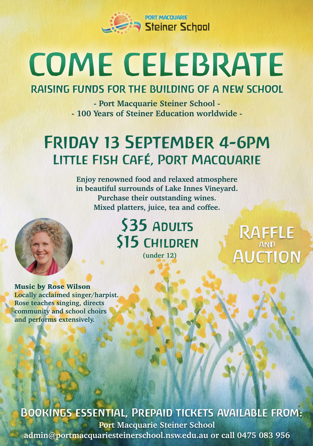 Flyer: Port Macquarie Steiner School Celebration Fundraiser